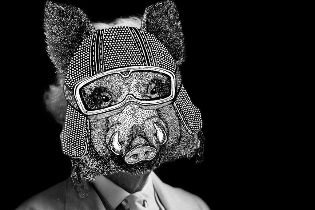 Cartela de la conferencia Hermano cerdo en el Centro Cultural La Malagueta